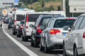 Traffic jam of holiday on a european motorway Royalty Free Stock Image