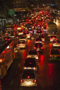 Traffic jam at main road in bangkok at night may heavy on may thailand it is already one of the world s most Royalty Free Stock Photo