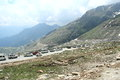 Traffic jam in mountain tourist car on a narrow muddy road manali india Royalty Free Stock Photo