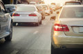 traffic jam with rows of cars during rush hour on road Royalty Free Stock Photo