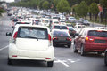 Traffic jam in the rush hour Stock Photo