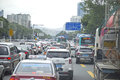 Traffic jam at rush hour on a busy street of Shenzhen, China Royalty Free Stock Photo