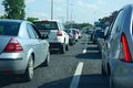 Traffic jam a during rush hour in rome italy rows of cars waiting to get off the next exit Royalty Free Stock Photos