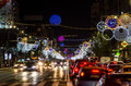 Traffic jammed and Christmas lights in Bucharest Royalty Free Stock Photo
