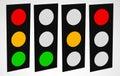 Traffic lamp, traffic light, semaphore icon set