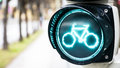 Traffic light for bikes Stock Photo
