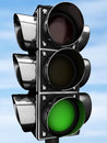 Traffic light on a blue background