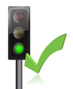 Traffic light and checkmark illustration design Royalty Free Stock Photo