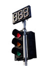 Traffic Light with Countdown on white Background Royalty Free Stock Photos