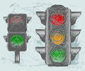 Traffic light grunge style vector illustration Royalty Free Stock Photo