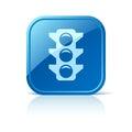 Traffic light icon on blue web button
