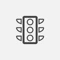 Traffic light icon, vector logo, linear pictogram isolated on white, pixel perfect illustration.