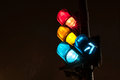Traffic light at night Stock Photos