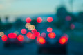 Traffic light out of focus highway during daytime in a city Stock Photo