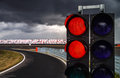 Traffic light on race track for formula competition Royalty Free Stock Photo