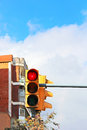 Traffic light red in the city Royalty Free Stock Photo