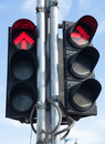 Traffic light red lights and do not turn right or not right Stock Photos