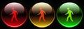 Traffic light red orange green man walk sign Royalty Free Stock Photo