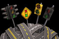 Traffic light road asphalt tangled and messy concept of Royalty Free Stock Image