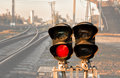 Traffic light shows red signal on railway Royalty Free Stock Photo