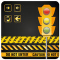 Traffic light a with some signals near it Royalty Free Stock Photos