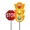 Traffic light and stop signal Royalty Free Stock Photo