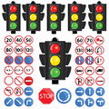 Traffic light and traffic sign vector Royalty Free Stock Photo