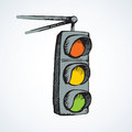 Traffic light. Vector drawing Royalty Free Stock Photo