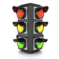 Traffic light on white d rendered image Stock Photos