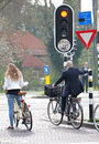 Traffic lights for bicycles hertogenbosch netherlands april at city s hertogenbosch on april in hertogenbosch Royalty Free Stock Images