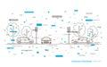 Traffic lights at the crossroad vector illustration