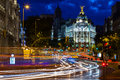 Traffic lights on gran via street at night spain Stock Photography