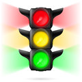 Traffic lights realistic with all three colors on and sidelight illustration on white background Royalty Free Stock Image