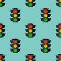 Traffic lights safety stop seamless pattern stoplight lamp control transportation warning semaphore vector illustration