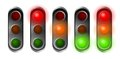 Traffic lights set of red orange and green Royalty Free Stock Images