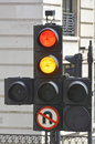 Traffic lights showing red and amber Royalty Free Stock Photo