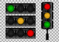 Traffic lights on transparent vector background.