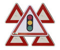 Traffic lights triangular sign Royalty Free Stock Photo