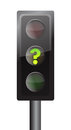 Traffic lights with yellow question mark signal Royalty Free Stock Photo