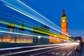 Traffic through London at night Royalty Free Stock Photo
