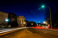 Traffic moving past the National Gallery of Art at night in Wash Royalty Free Stock Photo