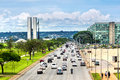 Traffic Next to National Congress Building in Brasilia, Brazil Royalty Free Stock Photo