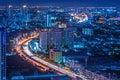 Traffic at night,The top view of Bangkok Royalty Free Stock Photo