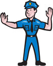 Traffic policeman stop hand signal cartoon illustration of a police officer making a gesture done in style on isolated background Royalty Free Stock Photo