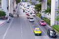 The traffic on rama i road bangkok thailand Royalty Free Stock Images
