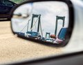 Traffic in the rear view mirror Royalty Free Stock Photo