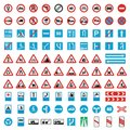 Traffic road sign collection icons set, flat style Royalty Free Stock Photo