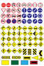 Traffic road sign collection many highly detailed and fully Royalty Free Stock Images