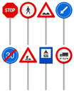 Traffic road sign set Stock Images