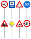Traffic road sign set signs on a white background Royalty Free Stock Image